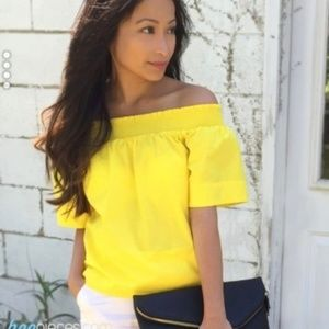 J. Crew Top Sunny Yellow Off Shoulder Ruched Shirt